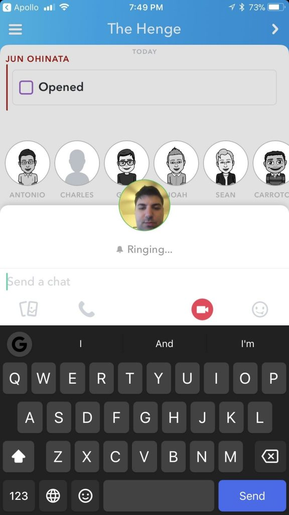 snapchat audio and video call